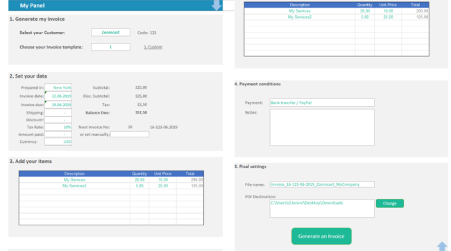 panel provide data pdf invoice management