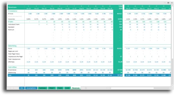 Revenue e-commerce financial statement Excel
