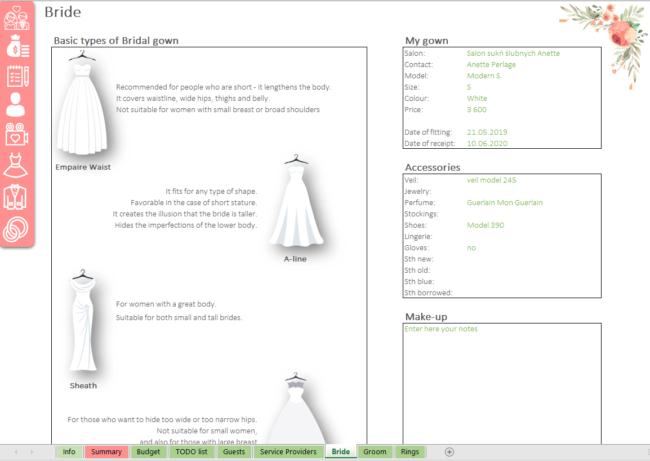 Bride Wedding Planner Excel template