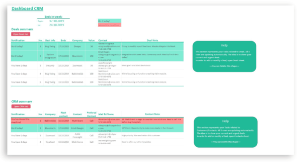 customer relationship management excel sheet template