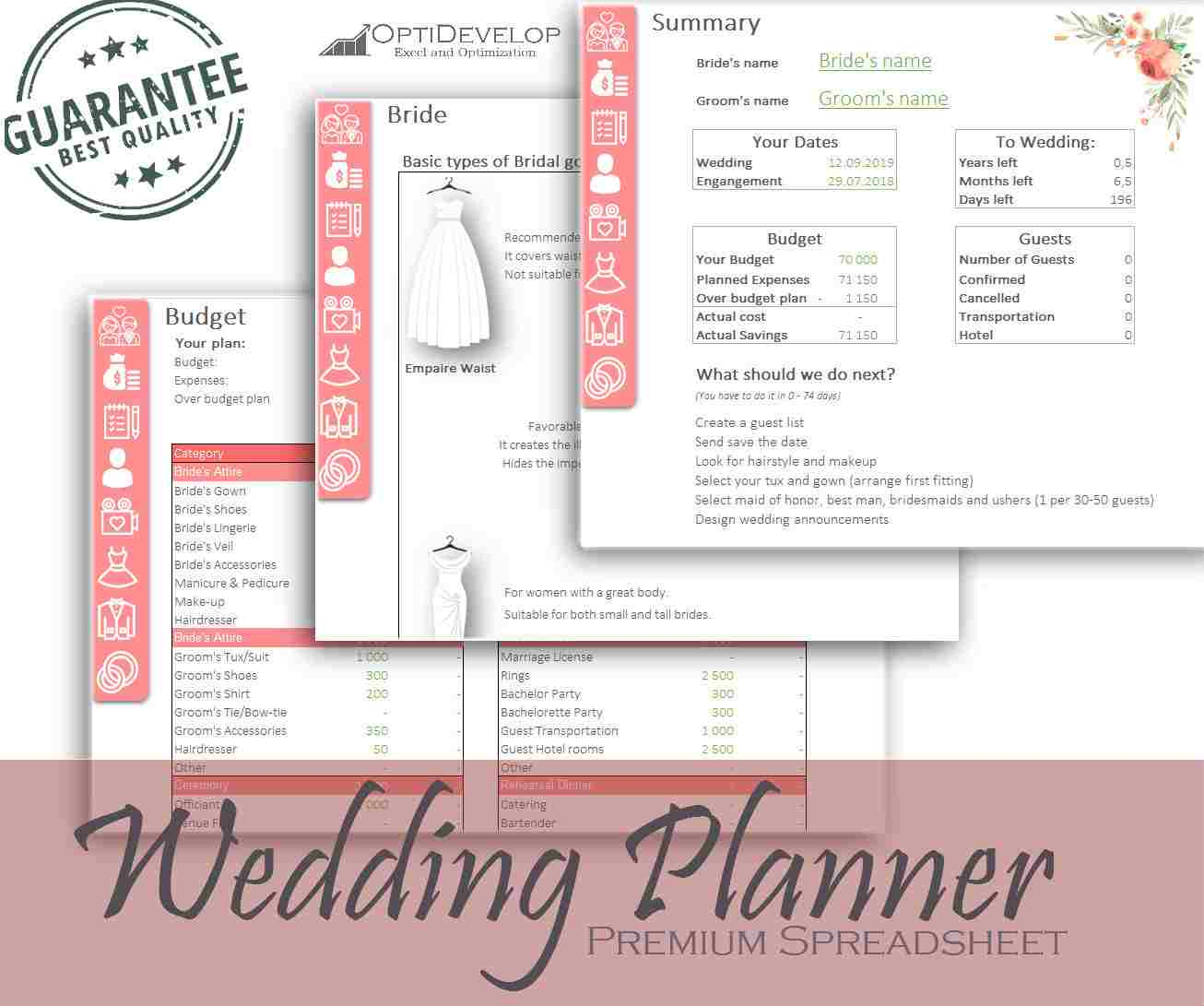 Wedding Planner Checklist Excel Budget Spreadsheet For Wedding