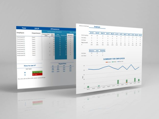 Employee Attendance Planner Dashboard Tracker register Excel Template