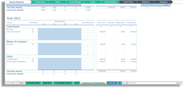 Investment & Depreciation Model Excel