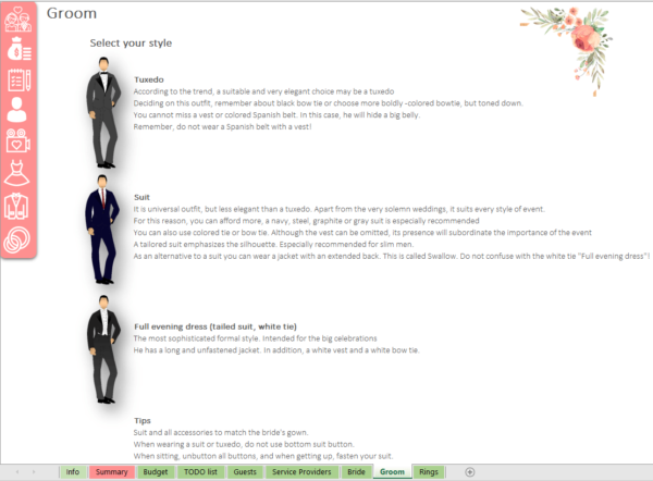 Groom Wedding Planner Excel template