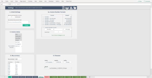 Invoice Tracker Settings
