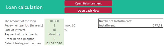 Excel Loan Calculation Company