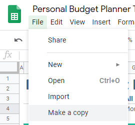 Personal Budget Planner Make a Copy Google Sheets