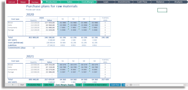 Purchase Plans for raw materials excel