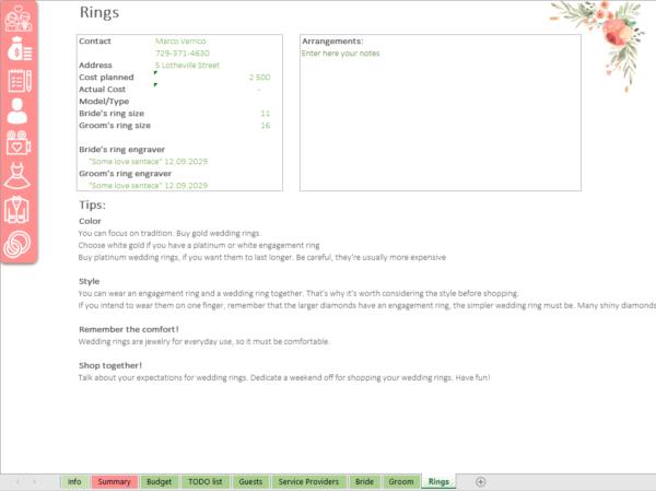 Rings Wedding Planner Excel template