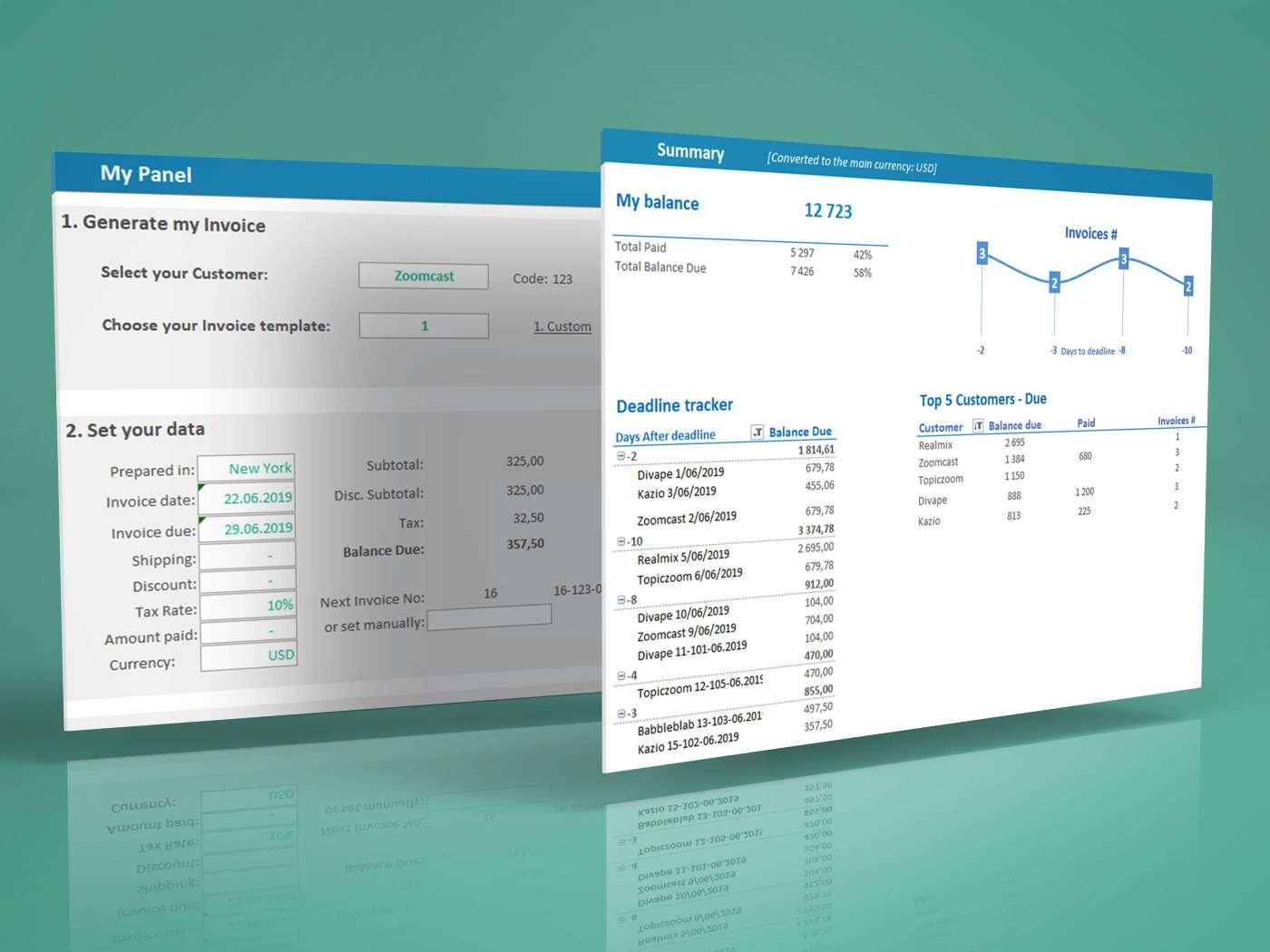 Invoice Generator Tracker Dashboard Excel template