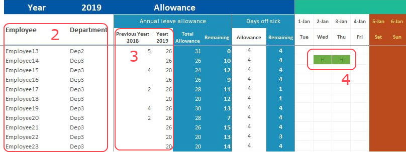 excel template employee attendance planner tracker