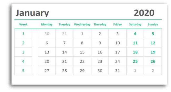 Weekly Monthly Calendar Spreadsheet Free