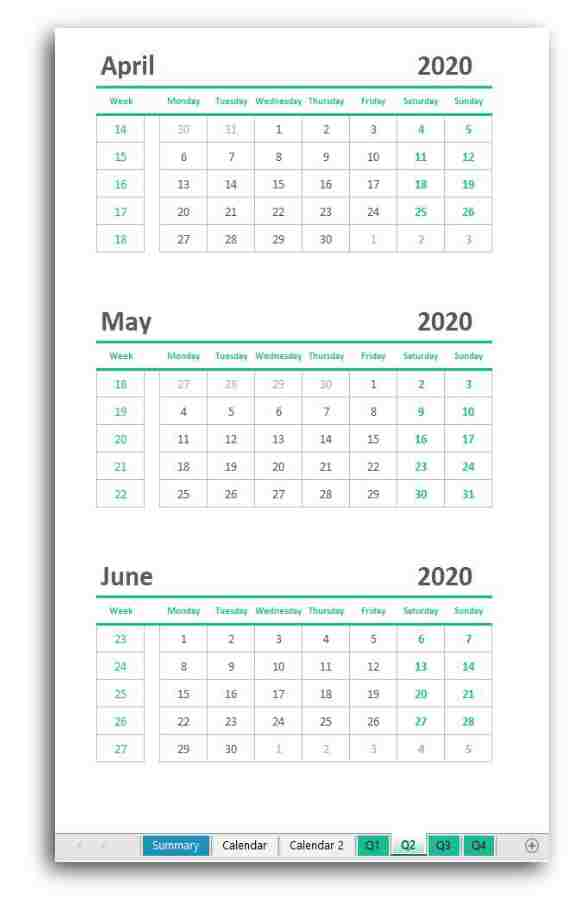 Spreadsheet Month Year Calendar