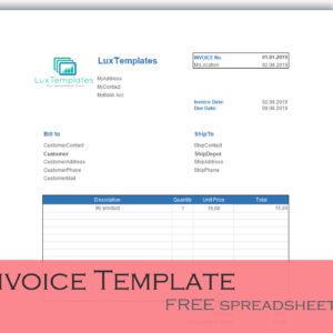 invoice template for Excel