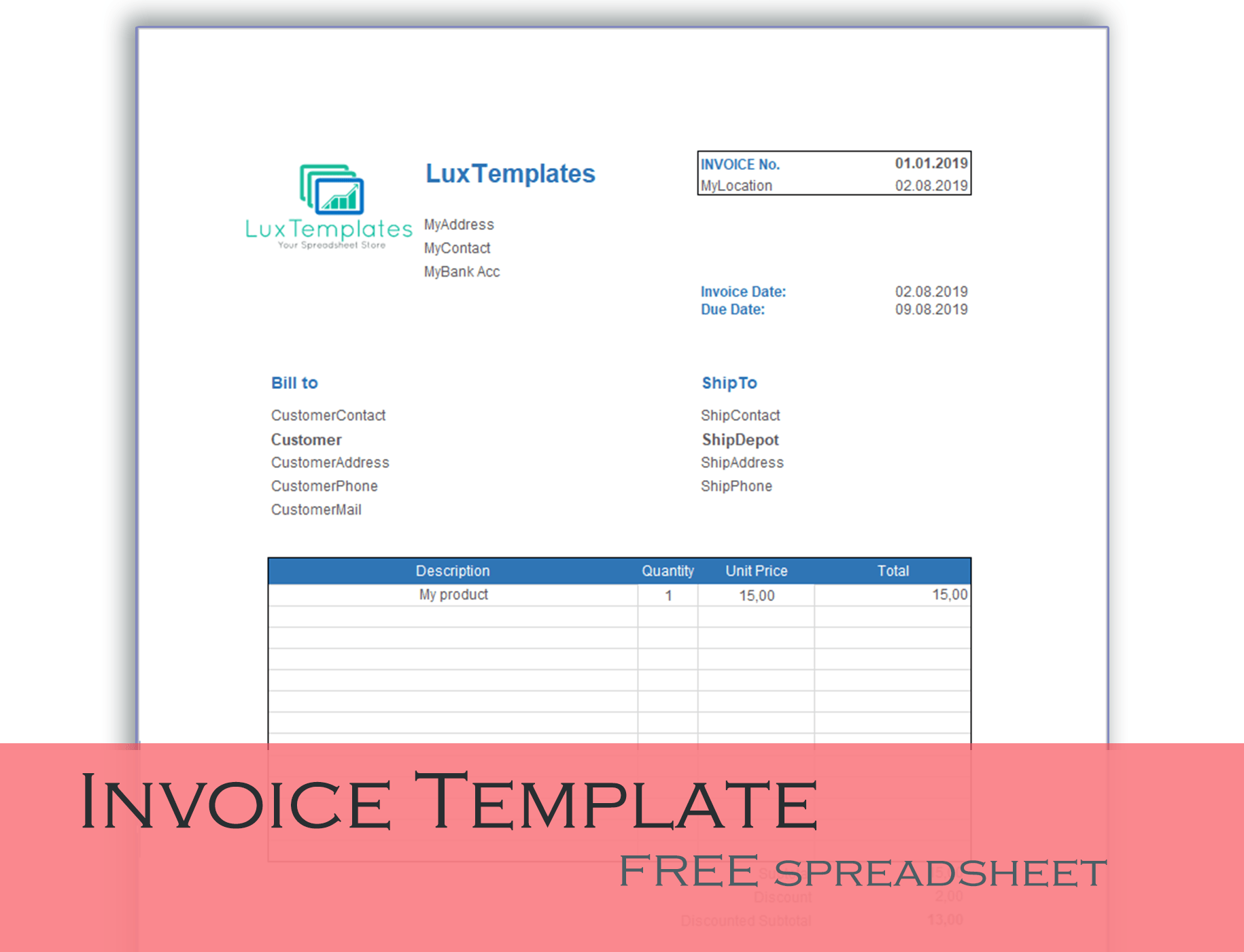 Invoice Templates For Excel Luxtemplates Modern Design