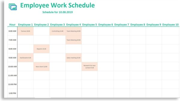 excel weekly employee schedule template