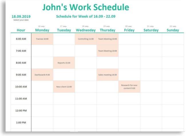 weekly employee schedule template excel