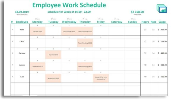 excel template for weekly work schedule