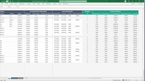 Financial information spreadsheet