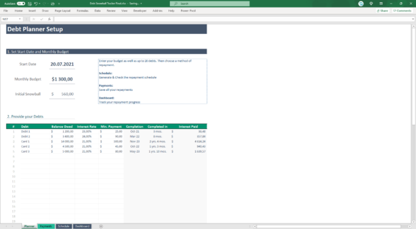 quick dent repayment spreadsheet