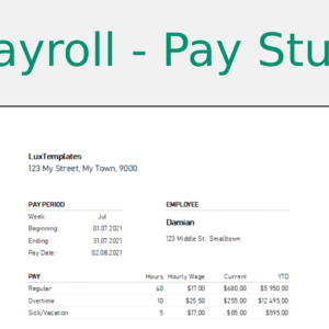 Pay Stubs sheet