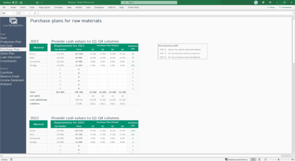 purchase plan Excel