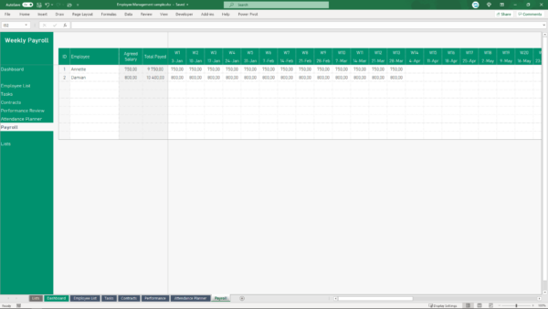 payments - payroll spreadsheet